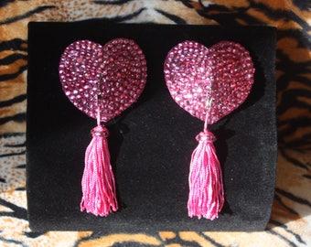 Rose Pink Fuschia Crystal Rhinestone Heart Pasties Tassels Burlesque PinUp Showgirl Valentines