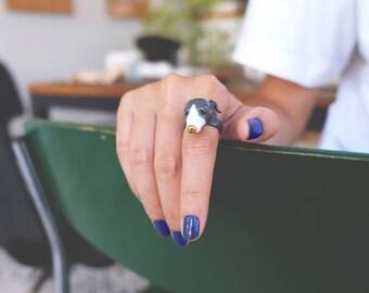 Zero Italian Greyhound Ring Blue , Iggy , Italian Greyhound , Animal Ring , Dog jewelry