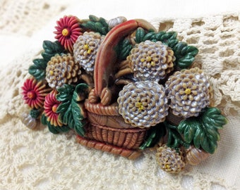 Vintage Signed Occupied Japan Molded Celluloid Flower Basket Brooch