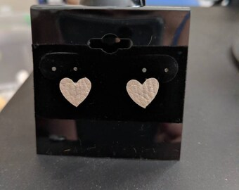 Heart Metallic Leather Stud Earrings