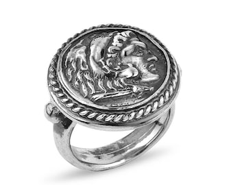 Silver Handmade Ancient Replica Coin Ring, Ancient Coin Ring, Silver Coin Ring, Statement Ring, Replica Coin ring, Gift for Her