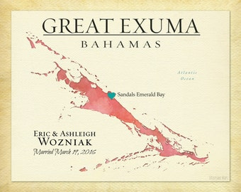 Great Exuma Bahamas Map Print, Paper Anniversary Gift, Personalized Wedding Gift, Map Art, Honeymoon Keepsake,  Other Islands Available
