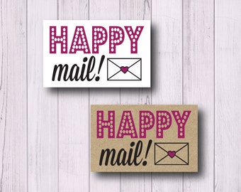 "Happy Mail Stickers - 2 x 1.25"" Rectangular Labels - Business Packaging - Mailing Stickers - Mailing Labels - Matte White or Kraft"