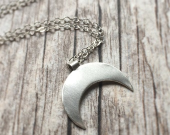 Sterling Silver Crescent Moon Necklace Double Horn Necklace Silver Moon Necklace Crescent Moon Charm Layering Necklace Tusk Necklace