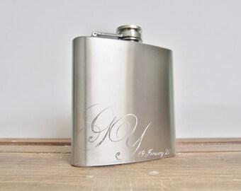 Personalised Hip Flask, Wedding Monogram, stainless steel flask