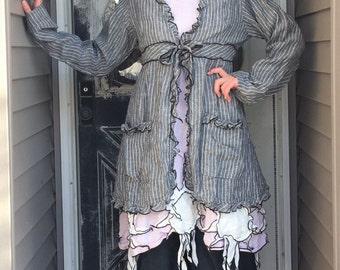 Gray Linen Striped Dress Jacket S/M