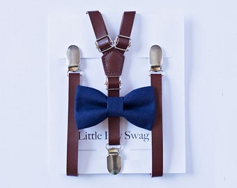Boys Dark Brown Leather Suspenders and Navy Bowtie, Boys Suits, Rustic Wedding, Ring Bearer Outfit, Baby Boy Bow Tie, Kid Suspender, Wedding