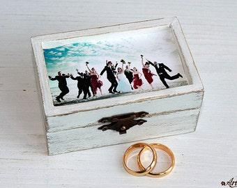 Custom Photo Keepsake Box, Personalized Photo Box, Picture Box wedding ring box ring bearer box ring box bearer wedding box wedding ring box