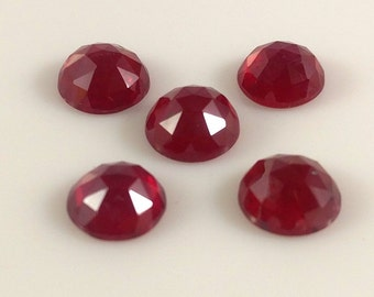 8.50 Cts  NATURAL Ruby Rose Cut  Round Lot of 5 Pcs OF MM = 7X7