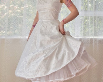 """1950's """"Cordelia"""" White Wedding Dress with a Boat Neck, Lace Overlay, Ribbon Trim, Tea Length Skirt and Petticoat - Custom made to fit"""
