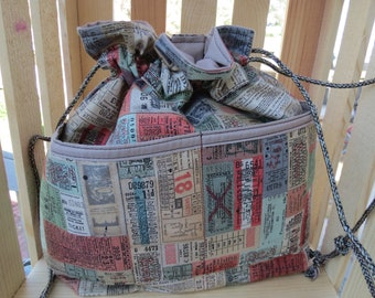 Medium Project bag, Knitting Project Bag, Crotchet Project Bag, Cinch Top Bag