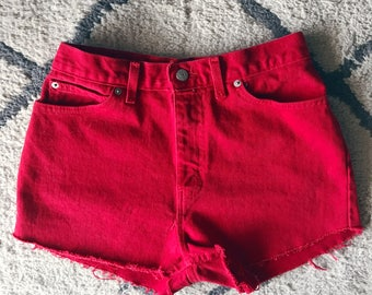 Faded Glory Red High Waisted Shorts