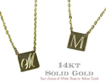 14KT SOLID GOLD Square Engraved Initial Necklace in 14Kt Yellow Gold, White Gold and Rose Gold