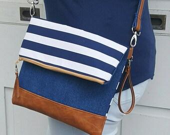 Blue Denim Crossbody Bag, Crossbody Purse, Striped Crossbody, Crossbody Strap, Faux Leather, Clutch Bag, Crossbody Handbag, Mothers day gift