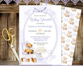 Teddy Bear | Lavender Baby Shower | Personalized Digital Invitation