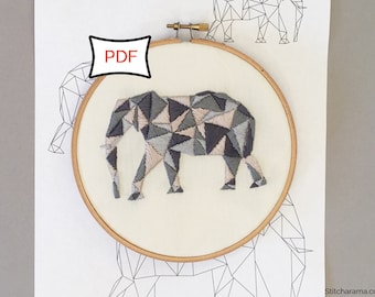 Geometric Elephant Embroidery Pattern • PDF Download