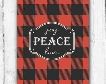 Joy Peace Love, Red Plaid, Wall Print, Christmas Print