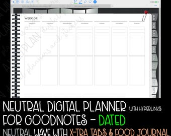GoodNotes digital planner for iPad DATED 2018 planner with  Monday Start - Neutral WAVE  - digital stickers - Digital planner starter kit