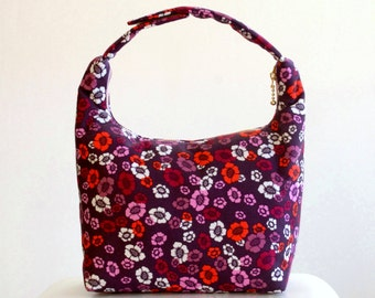 Insulated Lunch Bag, Women Lunch Bag, Women Small Purse, Girls Fabric Lunch Bag, Work Lunch Bag, Eco Friendly Lunch Tote,  Purple Pansies