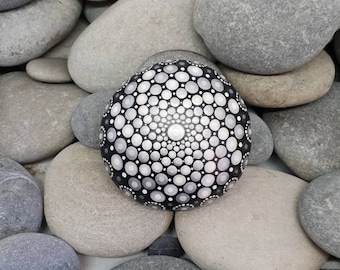 Grey & White Mandala Stone - Painted Rock - Mandala Rock - Meditation - Zen - Dotilism - Rock Art - Mandala Art - Christmas White