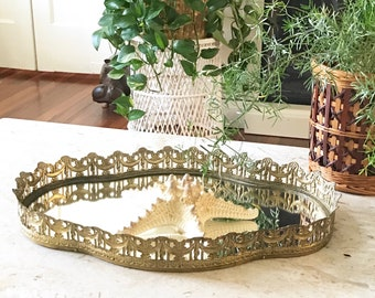 Vintage Brass Mirror Vanity Tray  • Ornate Brass Dresser tray • Hollywood Regency