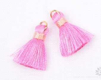 T002-RA-PP// Pink, Light Pink Rayon Tassel Pendant, 4pcs, 23mm