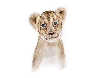Lion Art Print, Lion, Safari Nursery, Kids Wall Decor, Lion Wall Art, Animal Art, Watercolor, Lion Art, Tan, Blue, Brown, Lion Cub - 8.5x11