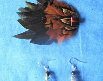 Ringneck pheasant earring and hair clip set  08