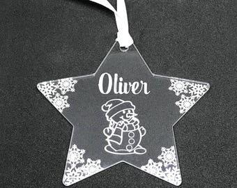 Snowman Christmas Decoration/Snowman Bauble/personalised bauble/personalised baby christmas/Baby's 1st christmas/Snowman ornament