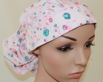 Women's Surgical Scrub Hat ,Scrub Cap,OR Cap,Vet,Vet Tech,Front Fold  Ponytail,Garden Party