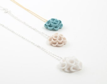 Khao-Lak -  Flower Necklace Pendant with White Porcelain  Flower and Sterling Silver Necklace or 4 ct Gold Filled  , Porcelain Jewelry