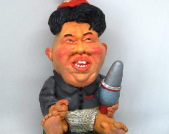 Kim Jong-Un, dictator of North Korea now available as a garden gnome !!  (Colourfully Gift Boxed , VERY limited availability)