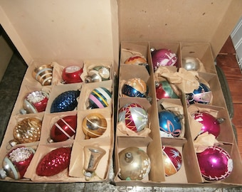 Vintage Christmas tree mercury glass ornaments some Shiny Brite stripes and stencils some Poland lot 24 in 2 boxes