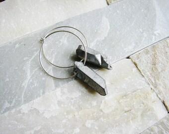 Quartz Point Earrings, Silver Quartz Earrings, Raw Quartz Earrings, Silver Hoop Earrings, Boho Earrings, Geology Earrings, Stone Earrings