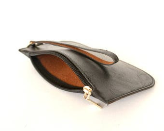 Leather clutch purse , Leather wristlet wallet ,Black clutch wristlet , Leather clutch with strap,
