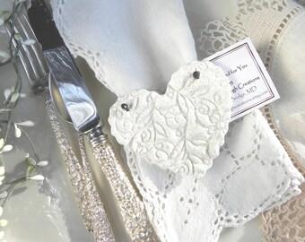 Bridal Shower / Wedding Favors / Baptism Heart  Valentine's Day Napkin Rings Set of 10 Imprinted Heart Salt Dough Ornaments