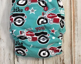 Motorcycle Biker Harley Roar Your Bike Hybrid Fitted Cloth Diaper - Zorb Organic Sherpa - One Size OS - Fold Down Rise FDR
