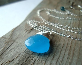 Blue Glass Briolette Necklace Sterling Spring Fashion Bridesmaid Jewelry Mothers Day Jewelry Gifts Under 30 Bridal Jewelry Aqua Blue