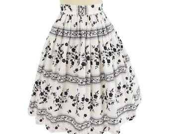 """60s Black White Floral Skirt-1960s-60's- Full Skirt-Midi Length-Cotton-Summer-Swing-M-Medium-28"""" waist"""