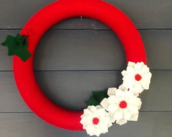 Christmas Wreath-red yarn and white felt poinsettias and holly