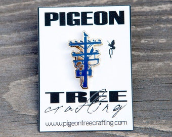 Pigeon Tree Crafting Pin- Blue and Gold