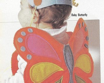 Vintage Sewing Pattern Book Baby's Felt Butterfly Ladybug Wings Turtle Skunk Costumes & Hats for Play Time or Halloween Costume  Hat