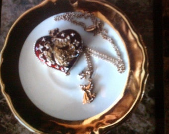 Vintage Angel necklace with Angel heart shaped trinket box
