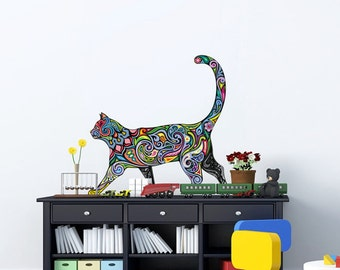 Cat wall decal decor Vinyl wall sticker Colorful nursery decals Kids For boys girls decals for baby room Car decal Macbook decal stickers