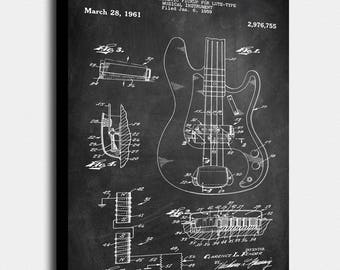 Fender Bass Canvas Print Patent Vintage Art Blueprint Poster