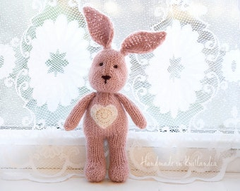 Small Bunny with Heart Embelishment, Handknitted Toy, Newborn Photo Prop