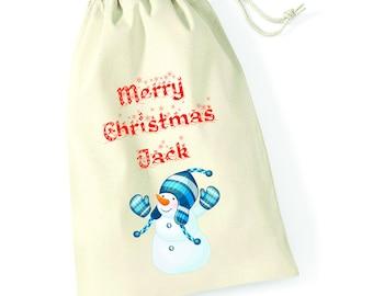 Personalised Snowman Hug Merry Christmas Santa Sack Xmas Present Stocking Drawstring Custom Printed Keepsake Tumblr Pintrest