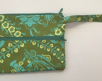Handmade Double Zippered Wristlet