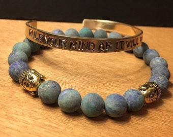 Rule Your Mind or It Will Rule You Buddha Cuff Bracelet