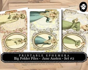 Jane Austen Print - Sense And Sensibility - Big Folder Files - Set #2 - 2 Pg Instant Download - pride and prejudice, journal cards